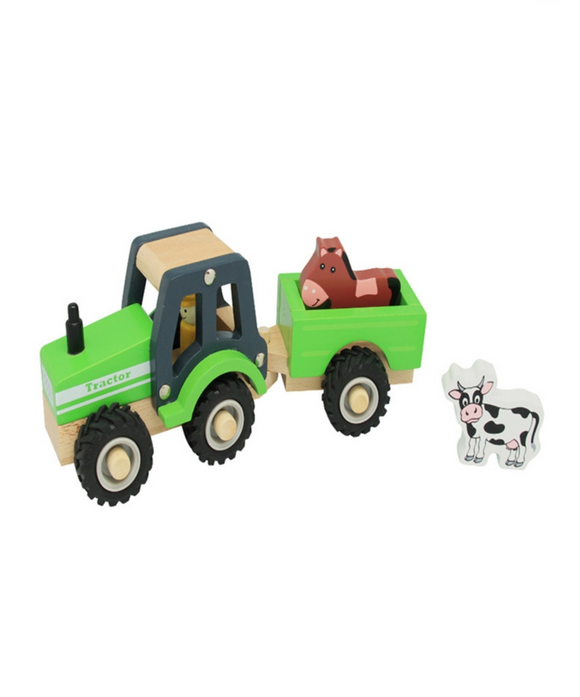 Toyslink Wooden Tractor and Trailer Green