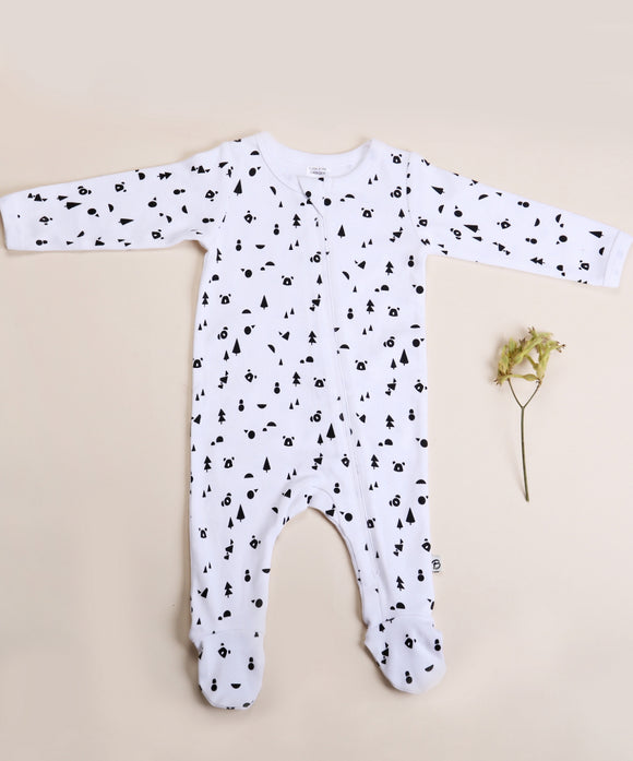 Bibalicious Romper Animals of the Land Black White