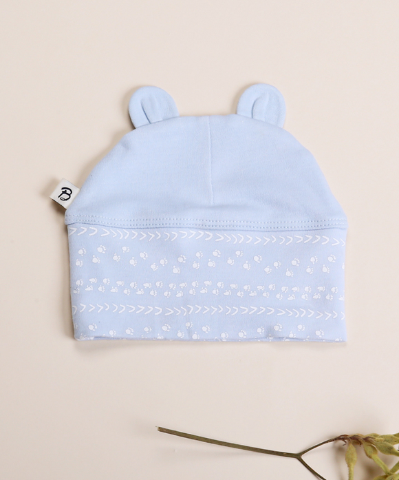 Blue Footprints Bear Ear Beanie