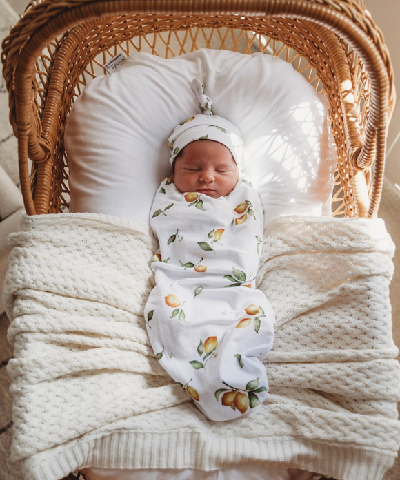 Lemon Snuggle Swaddle and Beanie Set