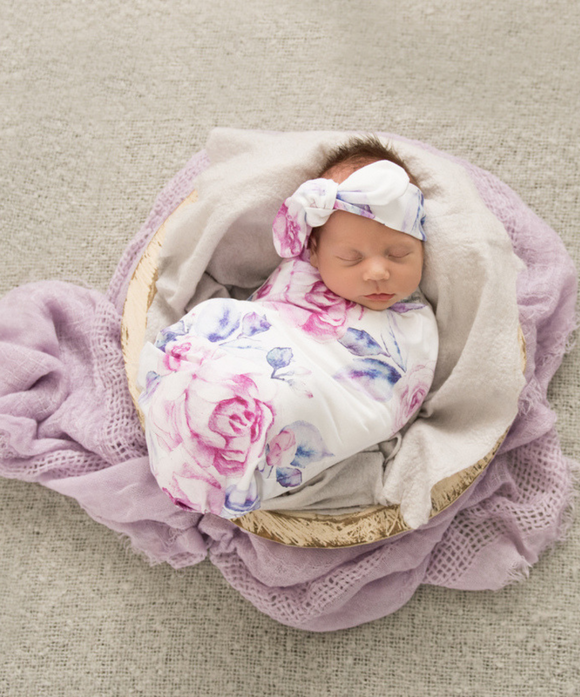 Lilac Skies Snuggle Swaddle and Topknot Set