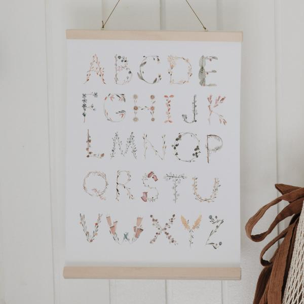 Mushie Alphabet Floral Poster Medium
