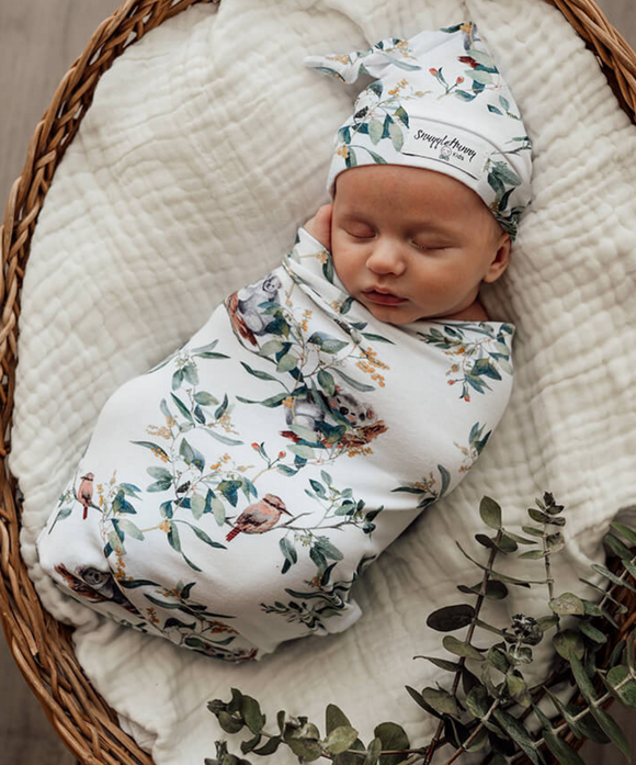 Eucalypt Snuggle Swaddle and Beanie Set
