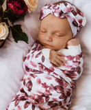 Fleur Baby Jersey Wrap and Topknot Set
