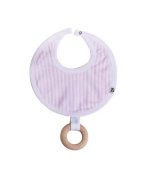 Rosella Pink Stripes Round Bib with Wooden Teether