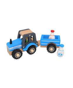 Toyslink Wooden Tractor and Trailer Blue