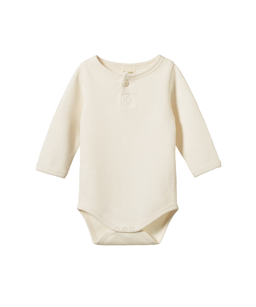 Nature Baby Henley Long Sleeve Bodysuit Waffle Natural