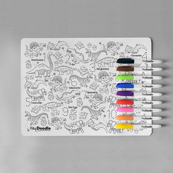 HeyDoodle Reusable Colour In Placemat DinoRoar