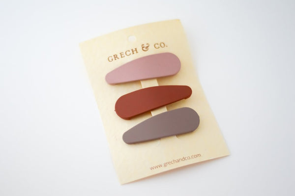 Grech and Co Matte Snap Hair Clips Shell, Rust and Stone