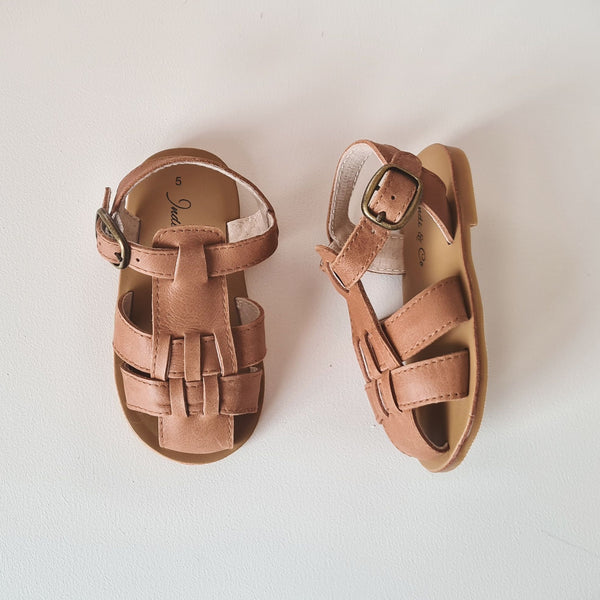 Indi and Co Benji Leather Hard Sole Sandals Almond