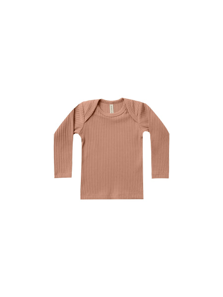 Quincy Mae Organic Ribbed Long Sleeve Lap Tee Terracotta