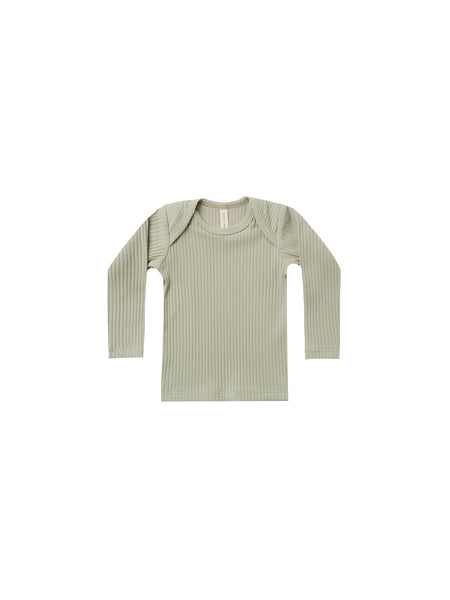 Quincy Mae Organic Ribbed Long Sleeve Lap Tee Sage