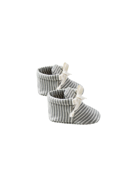 Quincy Mae Organic Baby Booties Ribbed Eucalyptus Stripe
