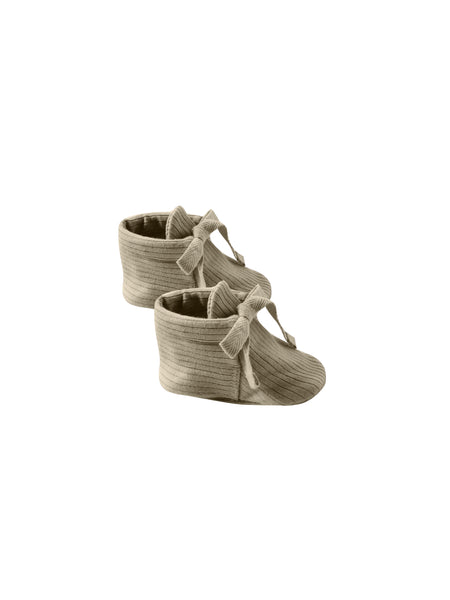 Quincy Mae Organic Baby Booties Ribbed Olive