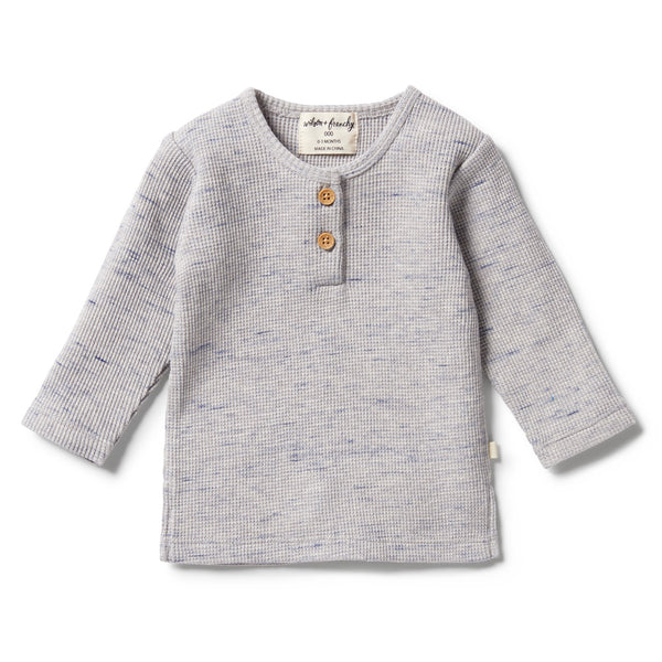 Wilson and Frenchy Waffle Henley Top Glacier Grey Fleck