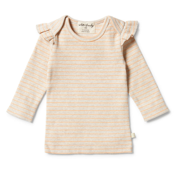 Wilson and Frenchy Organic Stripe Rib Ruffle Top Apricot