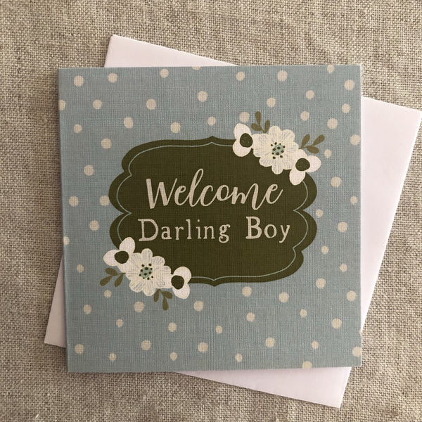 Baby Gift Card Small - Welcome Darling Boy