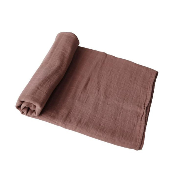 Mushie Organic Cotton Muslin Swaddle Blanket Cognac