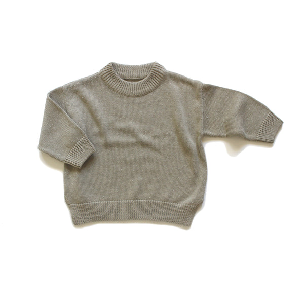 The Rest Organic Speckle Knit Jumper Olive Fleck