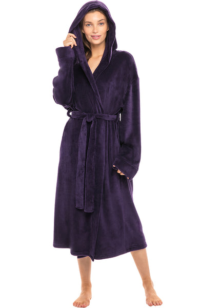 Alexander Del Rossa Women's Soft Fleece Robe with Hood, Warm Bathrobe