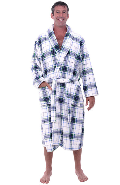 Mens Shawl Collar Fleece Bathrobe