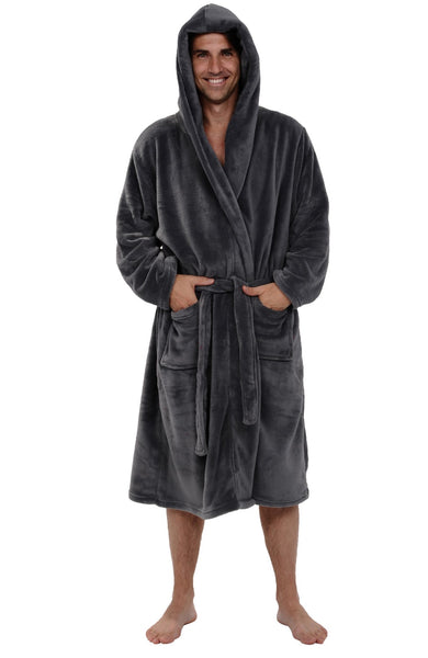 Alexander Del Rossa Men's Lightweight Fleece Robe with Hood, Soft Bathrobe