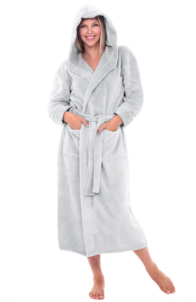 Womens Hooded Fleece Full Length Bathrobe