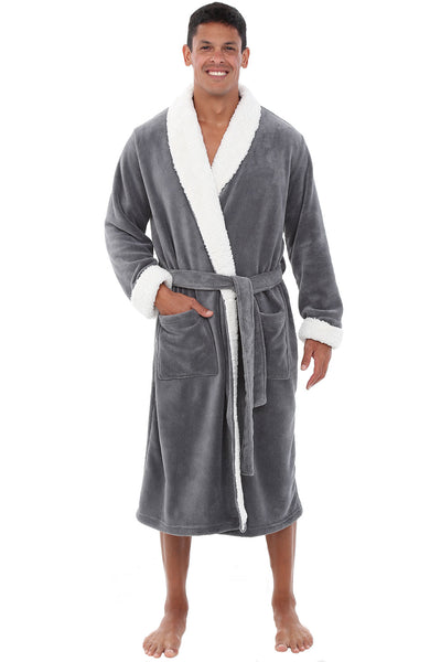 Alexander Del Rossa Men's Warm Fleece Robe, Plush Bathrobe