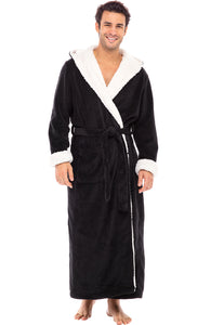 Alexander Del Rossa Men's Warm Fleece Robe with Hood, Plush Sherpa Big and Tall Bathrobe