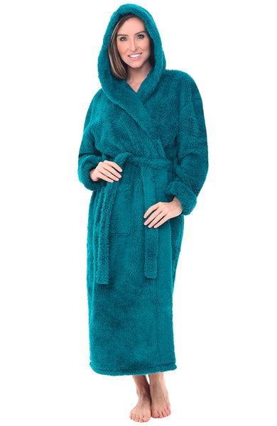 Womens Full Length Hooded Fleece Bathrobe Alexander Del