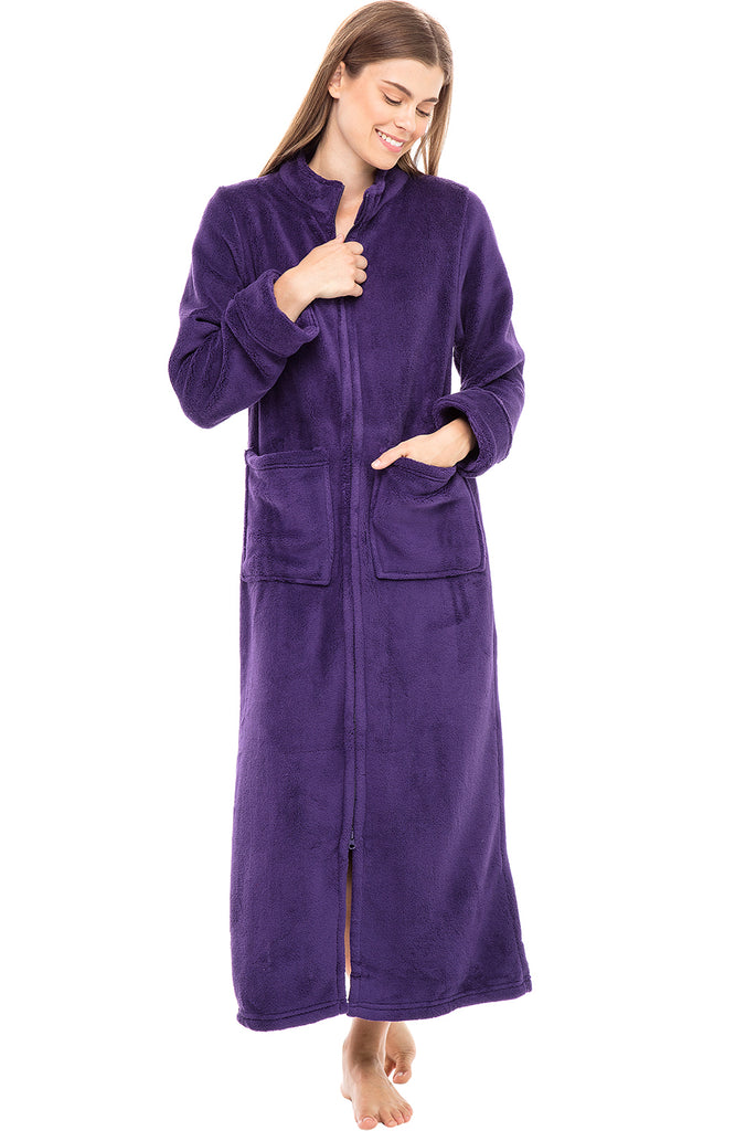 Womens Full Length Zip Front Fleece Bathrobe Alexander