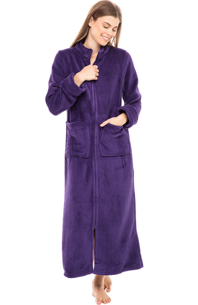 Womens Full Length Zip Front Fleece Bathrobe