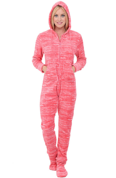 Womens Hooded Footed One Piece Fleece Pajama Set