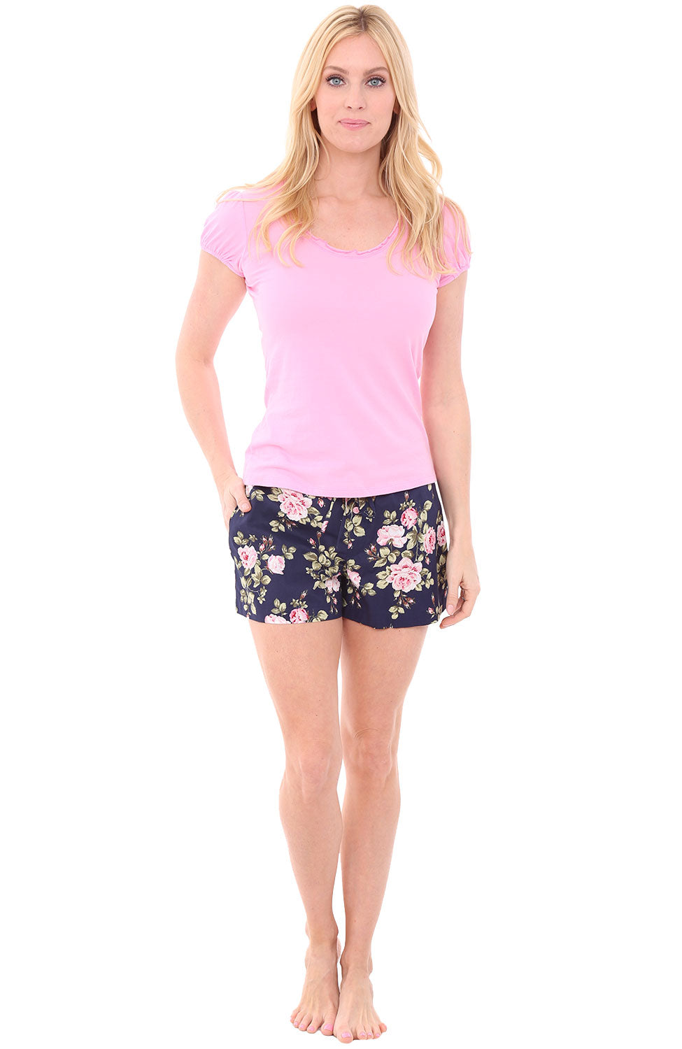 Roses on Navy with Prism Pink Top