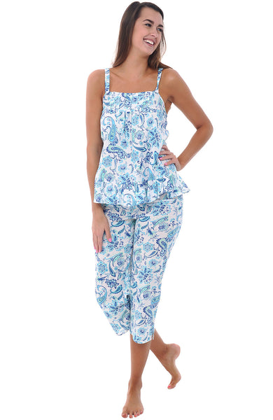 Womens Cotton Lawn Tank And Capri Pajama Set