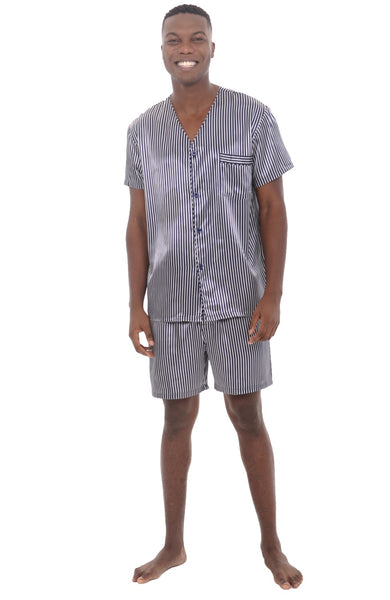 Mens Short Sleeve Satin V Neck Pajama Set With Shorts