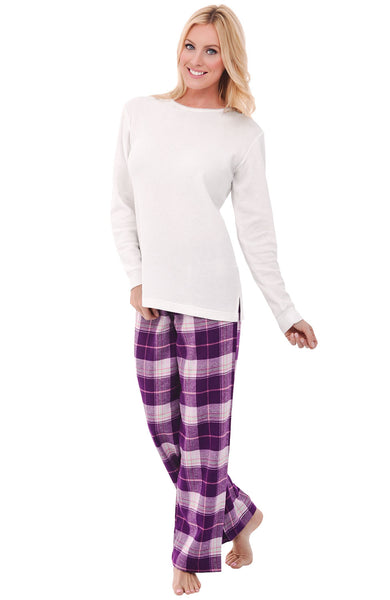 Alexander Del Rossa Womens Flannel Pajamas, Thermal Knit Top Cotton Pj Set