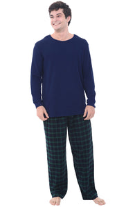 Mens Knit Top Cotton Flannel Bottom Pajama Set