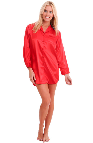 Womens Satin Button Up Boyfriend Style Sleep Shirt