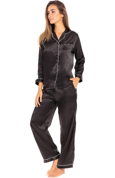 Womens Satin Button Up Long Sleeve Pajama Set