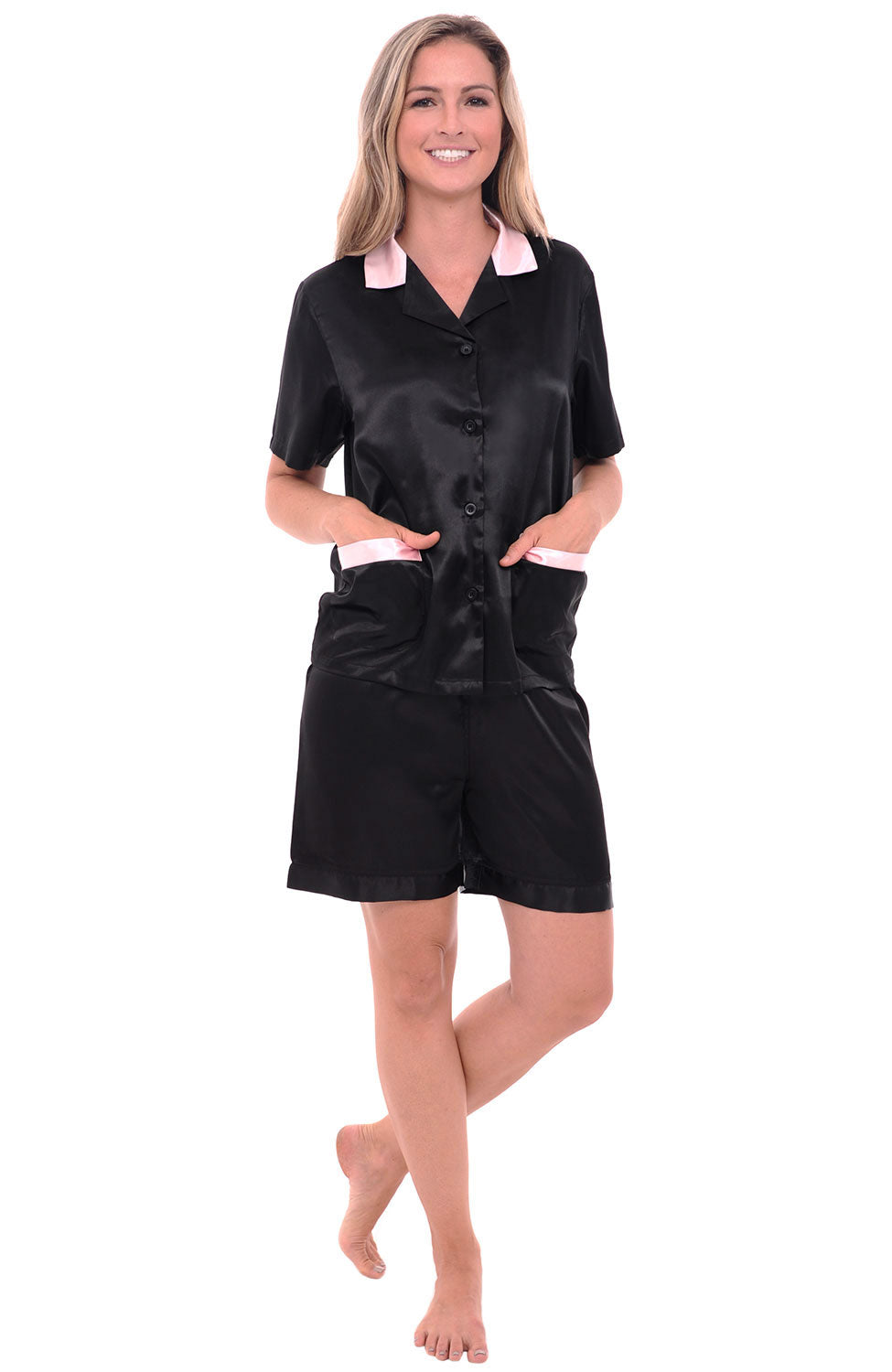 Womens Satin Short Sleeve Pajama Set With Shorts