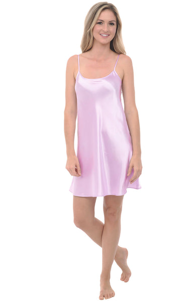 Womens Short Satin Camisole Chemise Baby Doll Nightgown