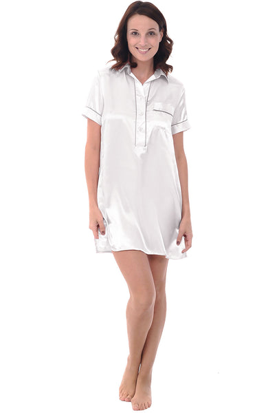 Women's Satin Nightgown, Boyfriend Style Short Sleeve Sleep Shirt