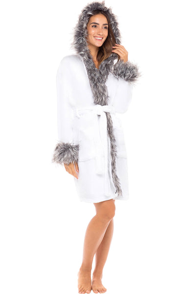 White with Gray Wolf Faux Fur - Knee Length
