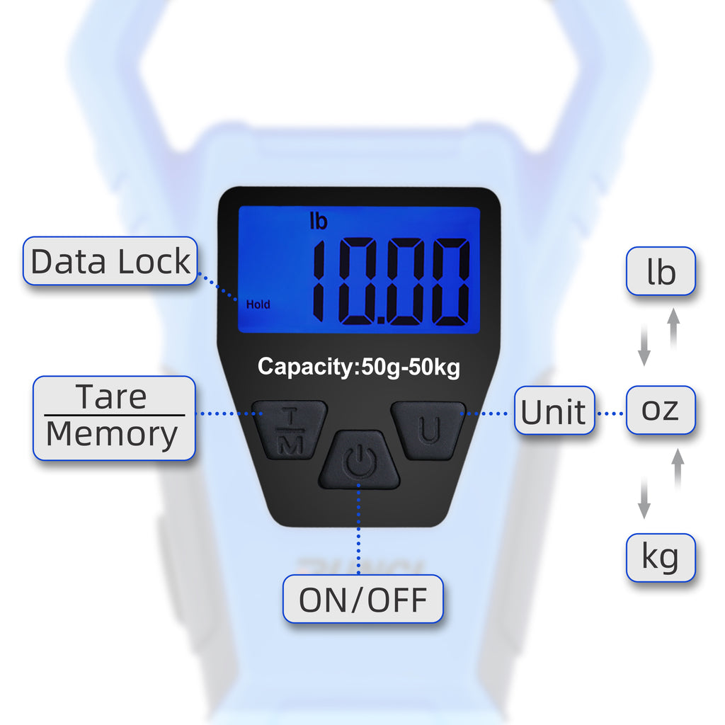 Weight Scale 110lb//50kgs 40in Built-in Tape Backlit LCD Display Hanging Scale Water-Resistant Construction RUNCL Waterproof Fishing Scale with Fish Gripper Digital Scale with Ruler