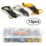 RUNCL Anchor Box - 15pcs Soft Frog Lures ( 4 Legged Frogs )