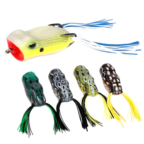 RUNCL Anchor Box - Topwater Frog Lures ( 5 frog lures with twin skirts )