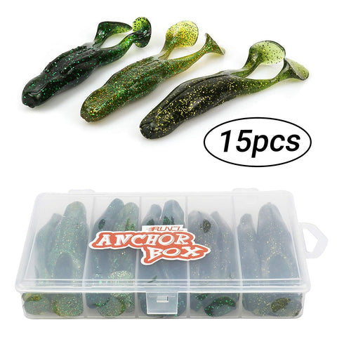 RUNCL Anchor Box - 15pcs Soft Frog Lures ( 2 Legged Frogs )