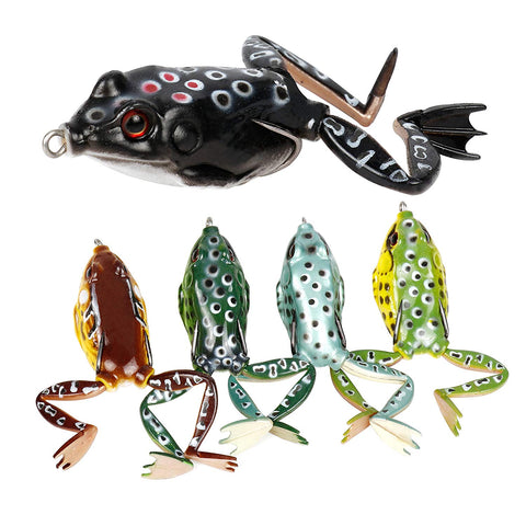 RUNCL Anchor Box - Topwater Frog Lures ( 5 frog lures with legs )