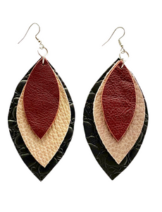 Kundwa Large 3-Leaf Earrings